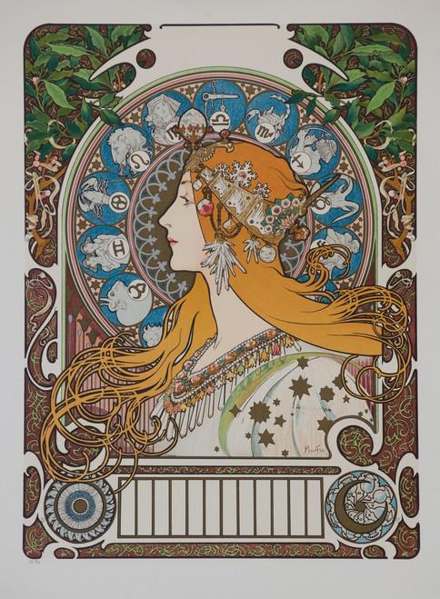 Alphonse Mucha Zodac Calendar Grid Lithograph