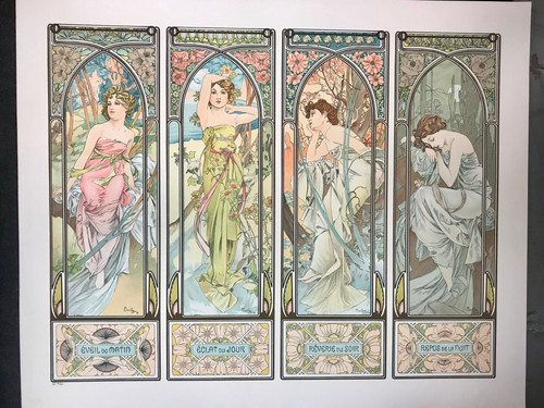 Aphonse Mucha Times of Day Lithograph 1899 ME 34/35
