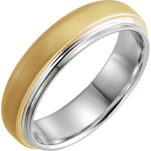18k Yellow and Platinum Flat Edge Wedding Band