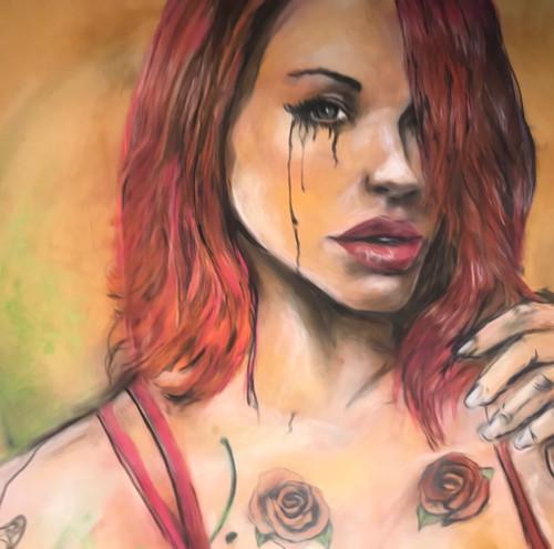 Crying Girl Rose Giclee by Daniel Leeland Woodward