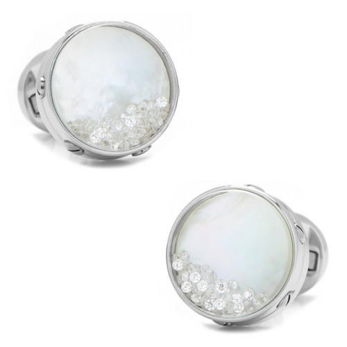 Mother of Pearl Floating Crystals Cufflinks