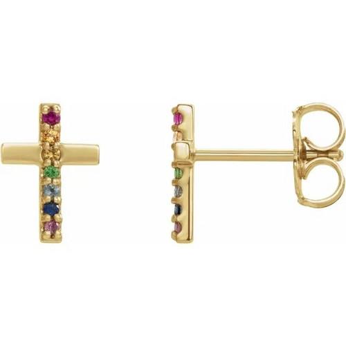 Multi-Gemstone Cross Stud Earrings in 14K Gold