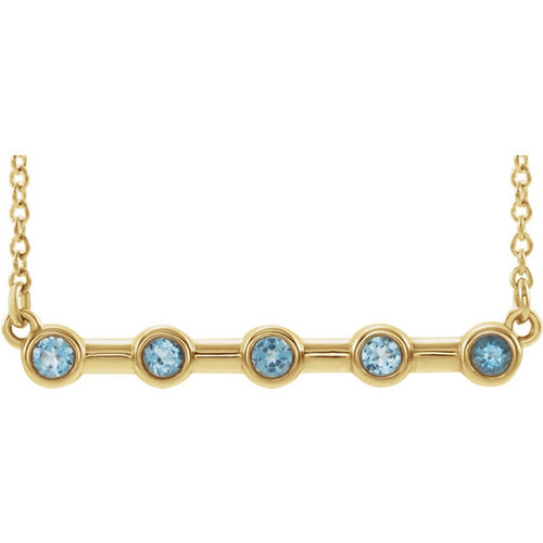 14k Yellow Gold Bezel Set Aquamarine Bar Necklace