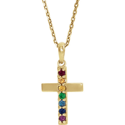 Multi-Gemstone Cross Necklace in 14K Gold