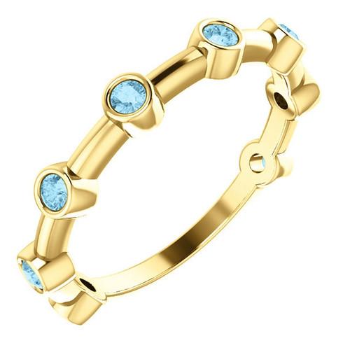 14k Yellow Gold Aquamarine Bezel Set Bar Ring