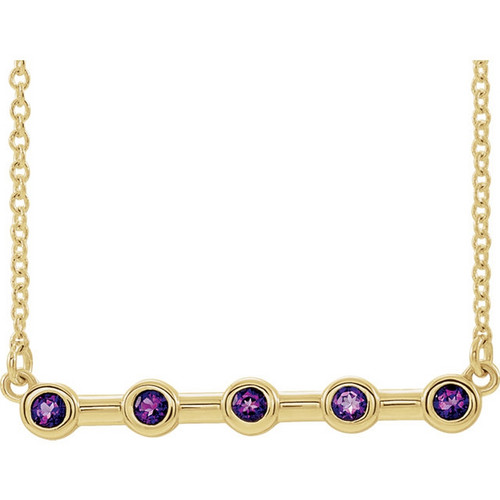 14k Yellow Gold Bezel Set Amethyst Bar Necklace