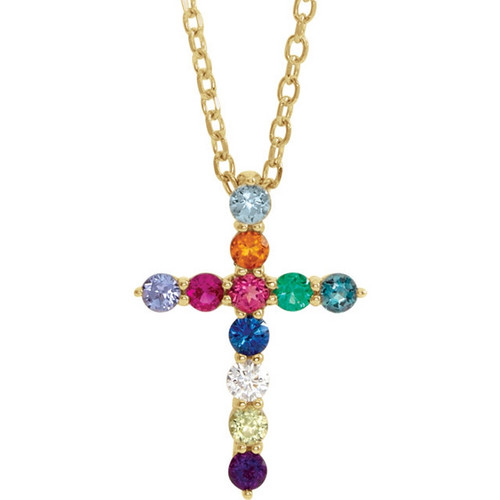 14k Gold Multi-Gemstone Cross Necklace