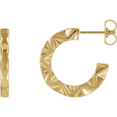Geometric Hoop Earrings in 14k Gold