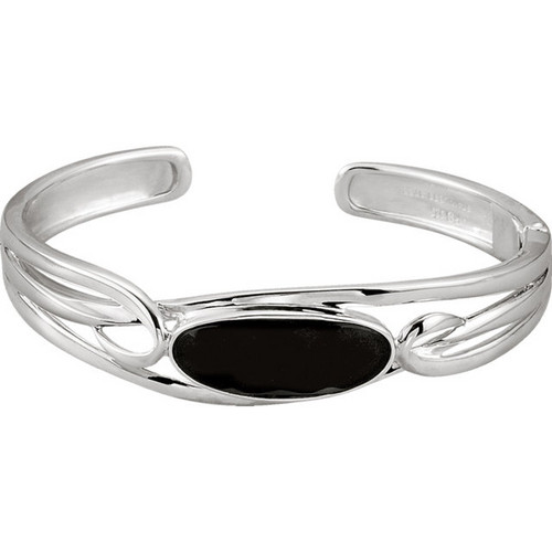 Black Onyx Cuff Bracelet in Sterling Silver