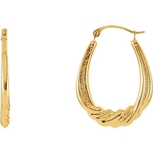 Crescent Hoop Earrings in 14k Yellow Gold