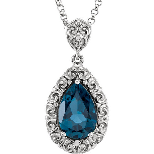Pear Shaped London Blue Topaz Sculptural Design Necklace in 14k White Gold