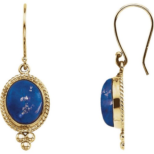 14k Yellow Gold Cabochon Lapis Earrings