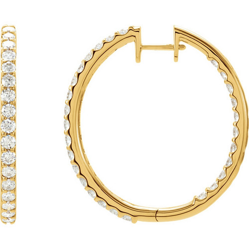 3 CTW Diamond Inside Outside Hinged Hooped Earrings in 14k Yellow Gold