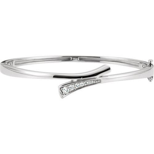 Diamond Journey Bangle Bracelet in 14k White Gold