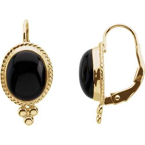 Black Onyx Lever Back Earrings in 14k Yellow Gold