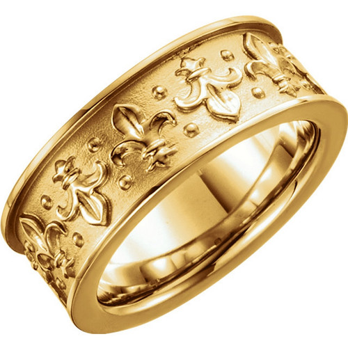 18k Yellow Gold Vintage Style Fleur de Lis Wedding Band
