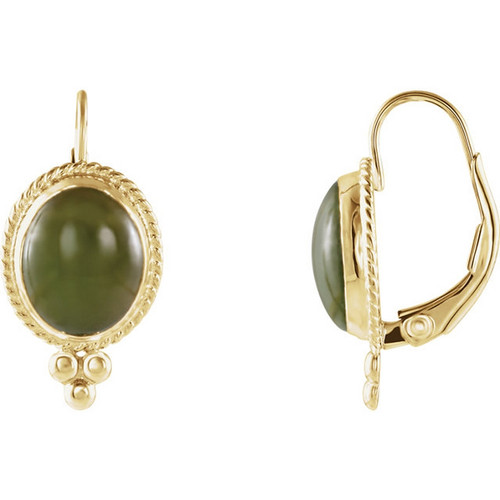 Nephrite Jade Cabochon  Earrings in 14K Yellow Gold