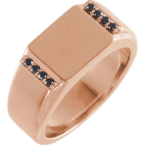 Black Diamond Men's Signet Ring in 14k Rose Gold