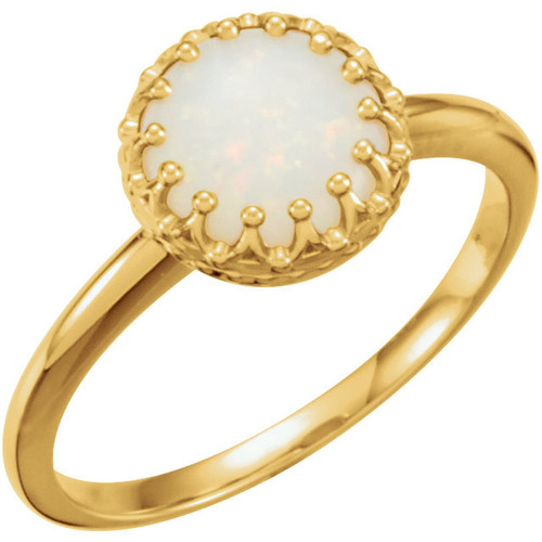 Round Opal Crown Ring in 14k Yellow Gold