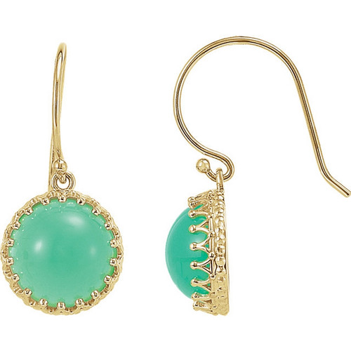 Round Chrysoprase Dangle Crown Earrings in 14k Yellow Gold