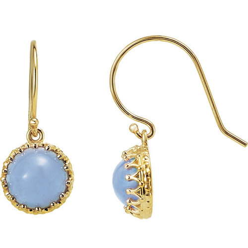 Round Blue Chalcedony Dangle Crown Earrings in 14k Yellow Gold