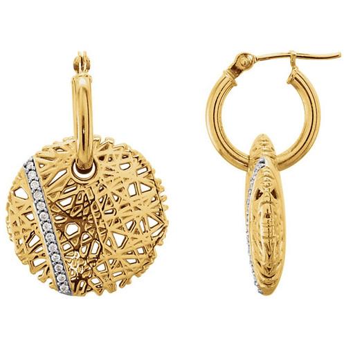 Round Diamond Nest Hoop Earrings in 14k Yellow Gold