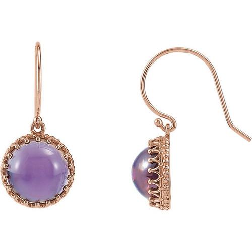 Round Amethyst Dangle Crown Earrings in 14k Rose Gold