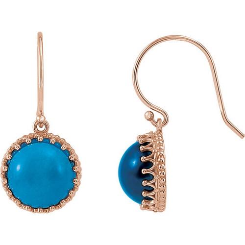 Round London Blue Topaz Dangle Crown Earrings in 14K Rose Gold