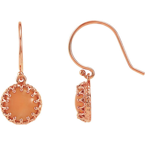 Round Pink Coral Dangle Crown Earrings in 14k Yellow Gold