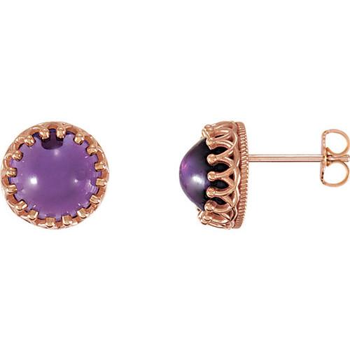 14K Rose Gold Round Amethyst Crown Stud Earrings