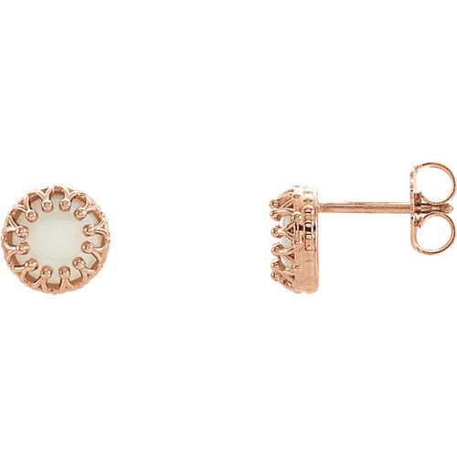 14K Rose Gold Opal Crown Stud Earrings
