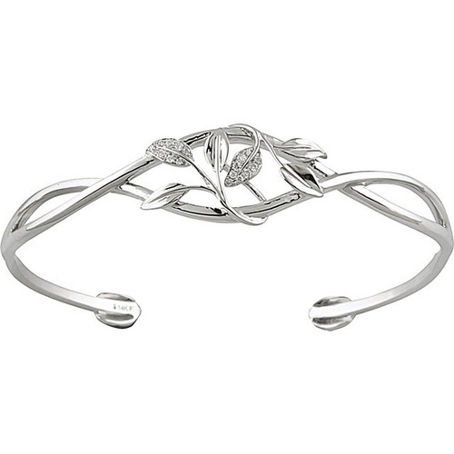 Diamond Leaf Cuff Bracelet in 14k White Gold