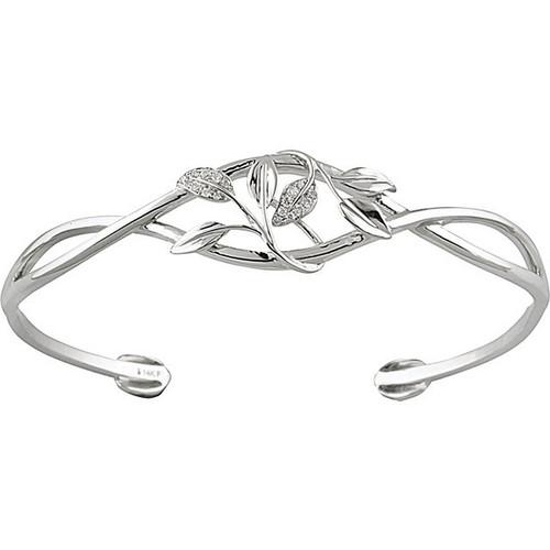 Diamond Leaf Cuff Bracelet in 14k White Gold