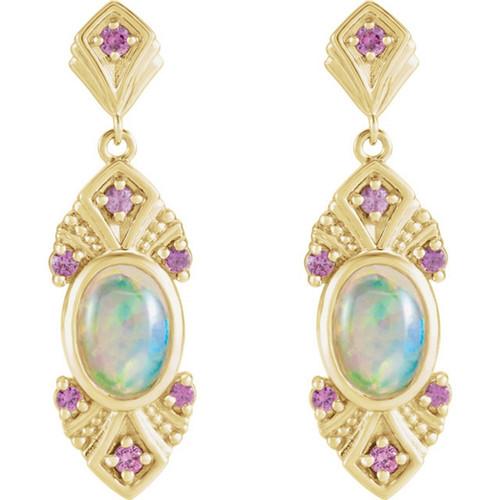 Oval Ethiopian Opal Vintage Style Earrings