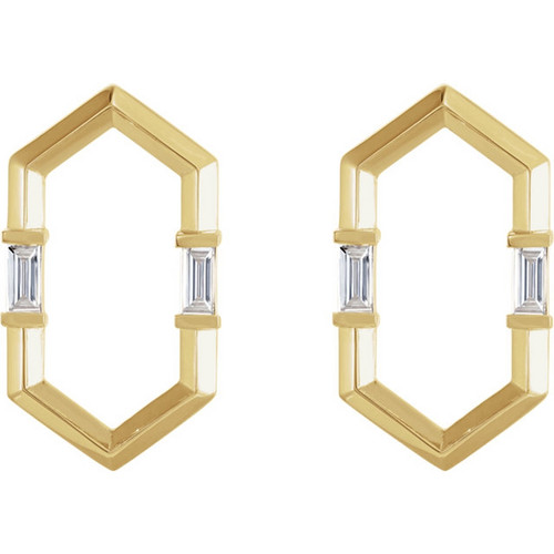 Baguette Diamond Geometric Earrings