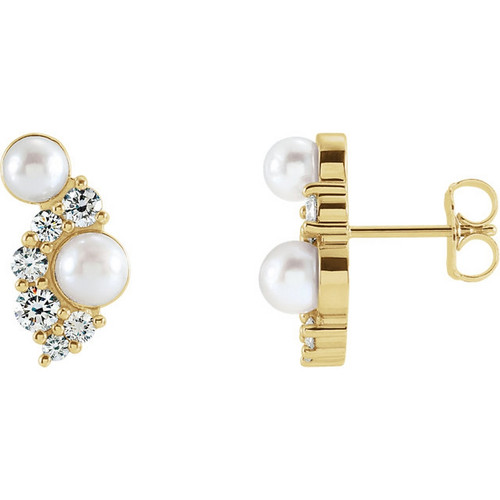 Akoya Cultured Pearls and Diamond Stud Earrings