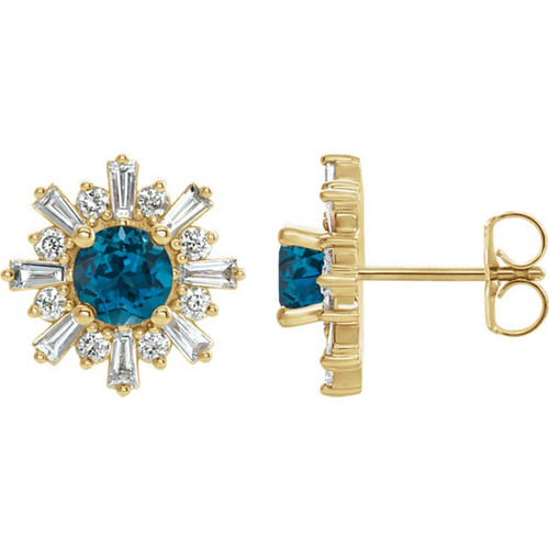 14k Yellow Gold London Blue Topaz and Diamond Starburst Earrings