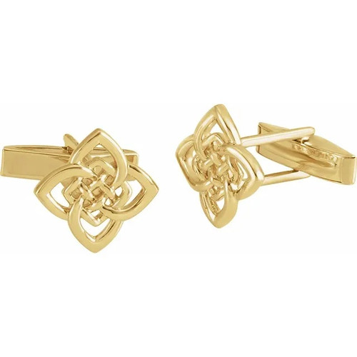 Four Cornered Celtic Knot Cufflinks in 14k Gold