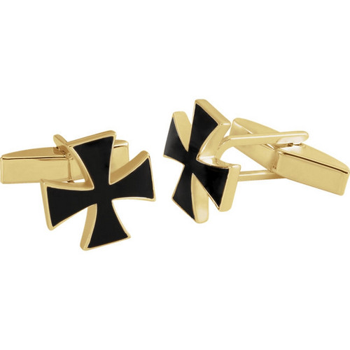 Maltese Cross Cufflinks in 14k Gold