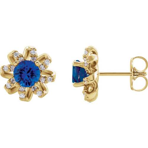 Blue Sapphire and Twisted Halo Diamond Earrings