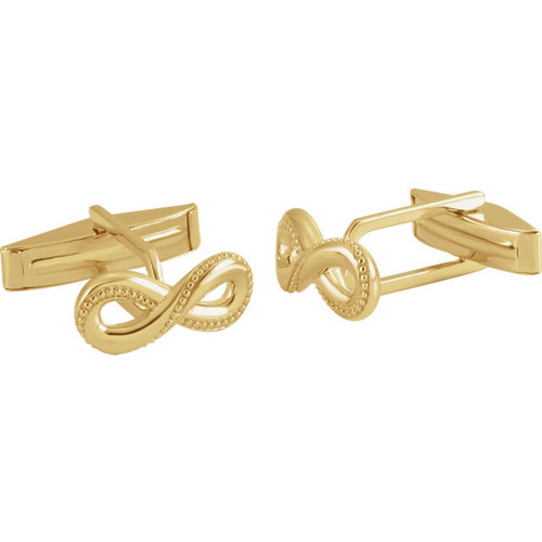 Infinity Symbol Beaded Border Cufflinks in 14k Gold