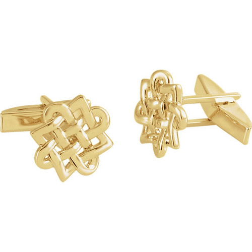 Celtic Endless Knot Cufflinks in 14k Gold