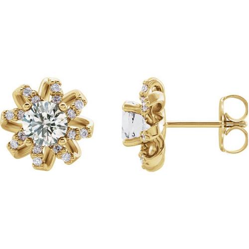 1 CTW Diamond Twisted Halo Earrings
