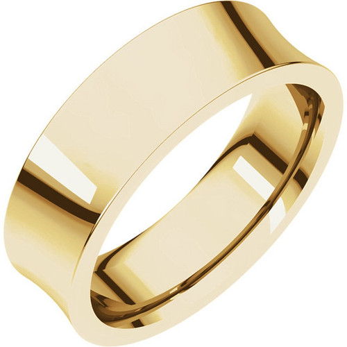 Concave Wedding Band in 18k Gold