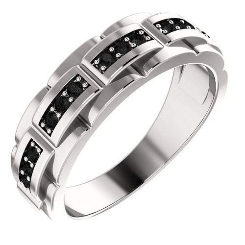 Platinum Men's Black Diamond Pattern Ring