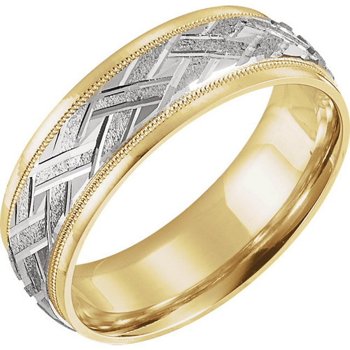 18k Yellow Gold and Platinum 7MM Woven Wedding Band