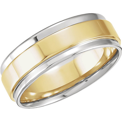 Platinum and 18k Yellow Gold 7.5MM Flat Edge Comfort Fit Wedding Band