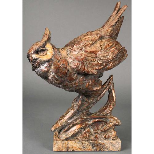 Arrival At Dusk Great Horned Owl Original Bronze Sculpture by Ott Jones