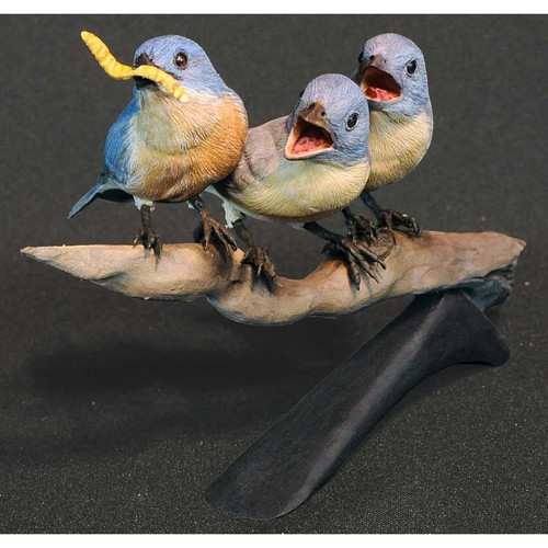 Bluebirds Original Wood Sculpture by Jim Maas
