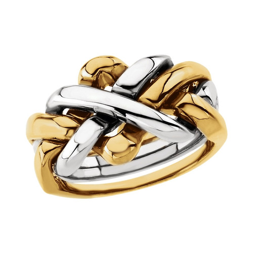18k Yellow Gold and Platinum 4 Piece Puzzle Ring